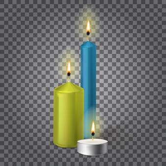 3d zestaw realistyczne świece parafinowe na białym tle