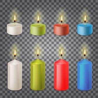 3d zestaw realistyczne świece parafinowe na przezroczystym tle