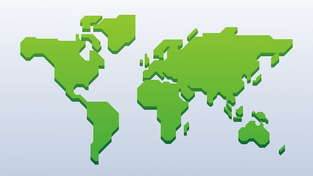 3d zielona mapa świata