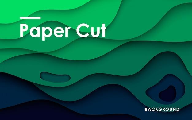 3d zielonego papieru rżnięty tło