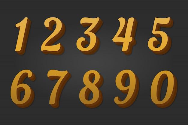 3d złote cyfry 0–9