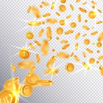 3d złote monety dolara i euro