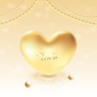 3d złote serce ilustracja