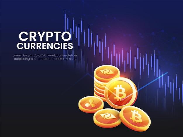 3d złote waluty kryptograficzne na niebieskim i czarnym tle cyfrowych linii.