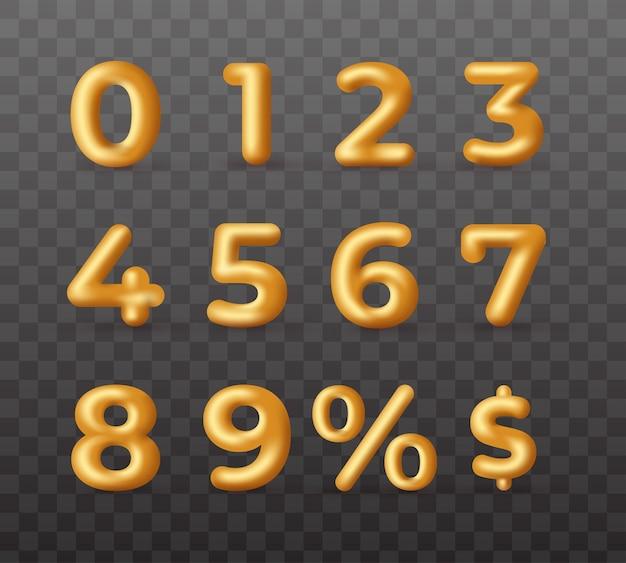 3d złote zniżki szablon wektor numery
