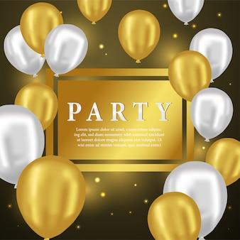 3d złoty i srebrny balon na kartkę z życzeniami