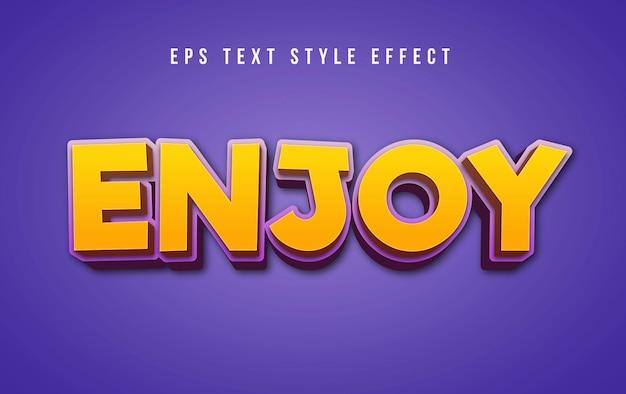 3d żółty ciesz się efektem edytowalnego tekstu graficznego