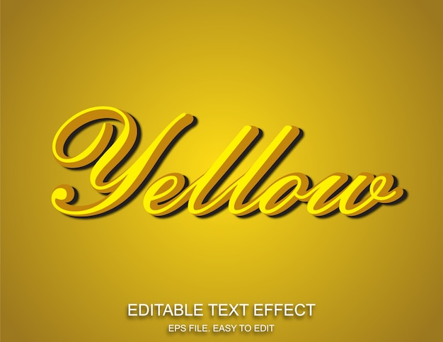 3d żółty styl efektu tekstu
