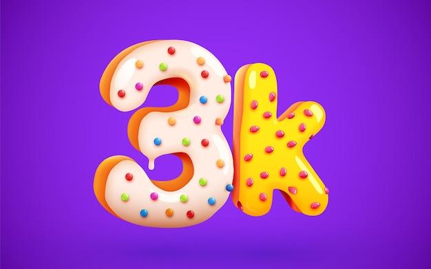 3k lub 3000 obserwujących deser pączek znak przyjaciele z mediów społecznościowych dziękuję obserwującym