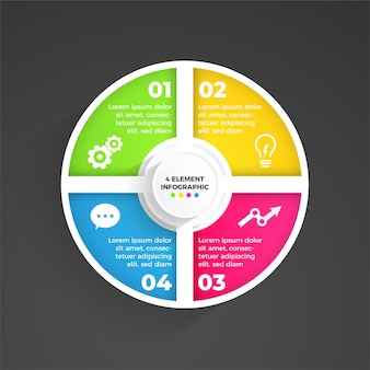 4-elementowa, elegancka, nowoczesna infografika
