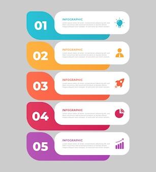 4-etapowy płaski biznesowy szablon infografiki