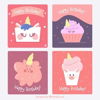 4 karty urodzinowe z zabawnymi jednorożecami