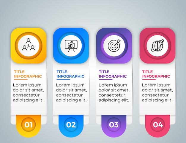 4 kroki biznesu infografikę