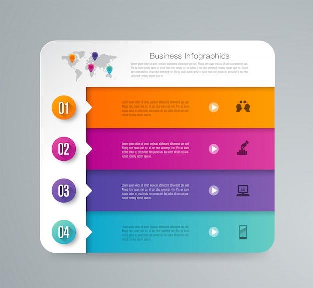 4 kroki biznesu infographic elementów do prezentacji