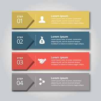 4 kroki infograficzne z żółto-niebieskimi czerwonymi i szarymi kolorami