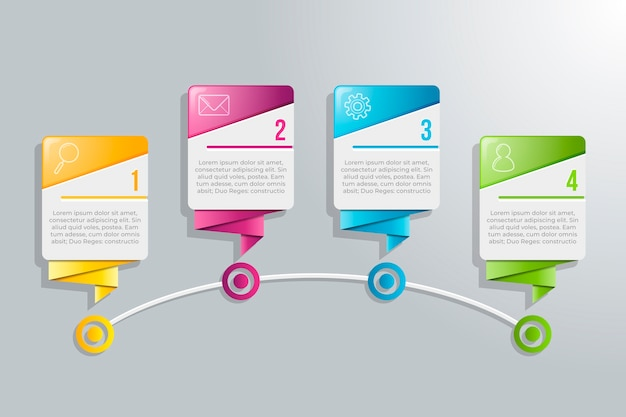 4 kroki plansza z kolorowy design i tekst