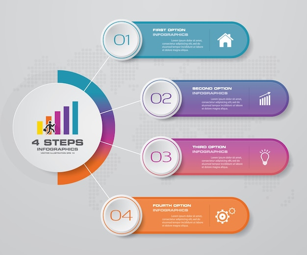 4 kroki przetwarzają element infografiki do prezentacji.