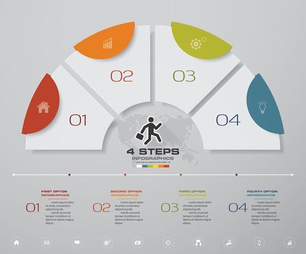 4 kroki przetwarzają wykres elementów infografiki.