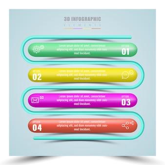 4 kroki realistyczny styl szablonu infografiki
