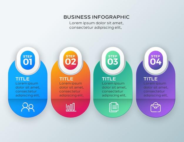 4 kroki szablon biznes infographic