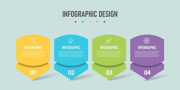 4 kroki wektor infografika biznesowa premium