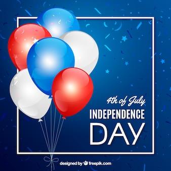 4 lipca balony kilka z amerykańskimi kolorami