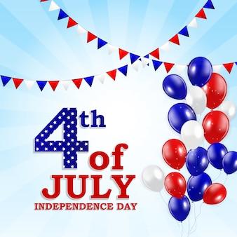 4 lipca, dzień niepodległości stanów zjednoczonych. kartka z życzeniami