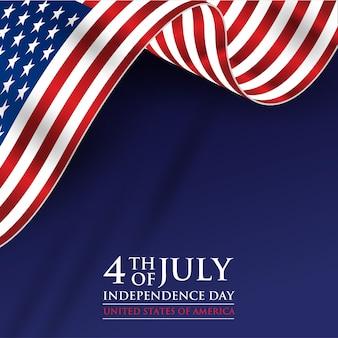 4 lipca dzień niepodległości z realistyczną flagą