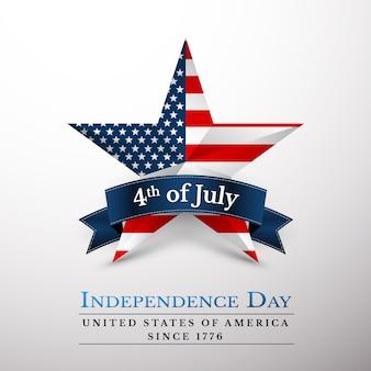 4 lipca gwiazda usa w barwach narodowych ameryki. dzień niepodległości.