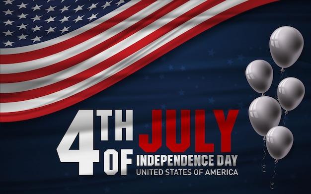 4 lipca obchody dnia niepodległości usa z balonem i amerykańską flagą