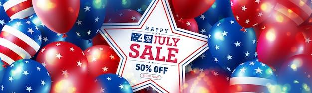 4 lipca plakat sprzedaż. święto dnia niepodległości usa z flagą wielu amerykańskich balonów.