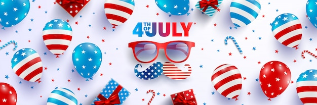4 lipca plakat szablon. obchody dnia niepodległości usa z flagą amerykańskich balonów