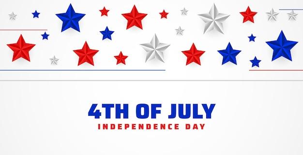 4 lipca szczęśliwego dnia niepodległości w tle gwiazd