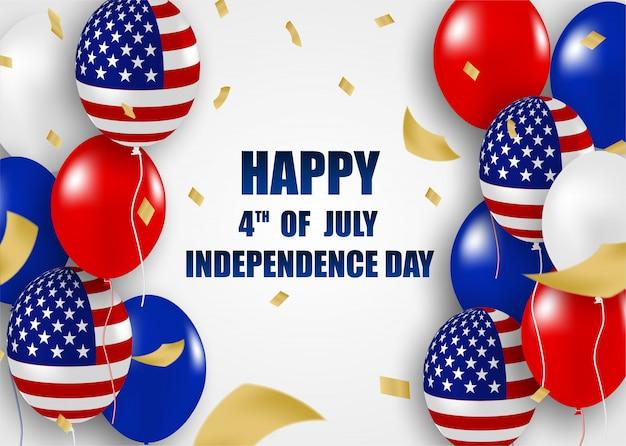 4 lipca szczęśliwy dzień niepodległości usa. projekt z balonami .vector.