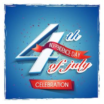 4 lipca tekst z czerwoną wstążką na błyszczące niebieskim tle. projekt kreatywnych plakatów, bannerów lub ulotek na amerykański dzień niepodległości.