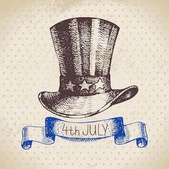 4 lipca tło. dzień niepodległości ameryki ręcznie rysowane szkic projektu