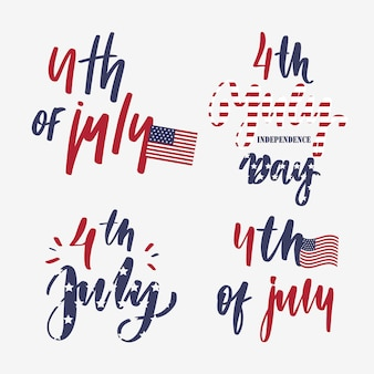 4 lipca - zestaw kart z napisem.