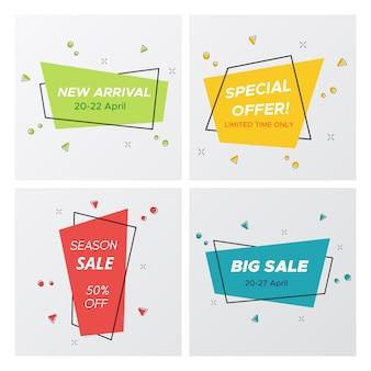 4 modne naklejki na sprzedaż w pastelowych kolorach
