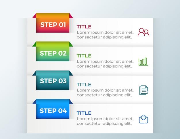 4 opcje kroki biznesu infografikę