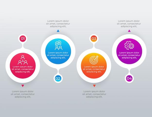 4 opcje kroków infographic