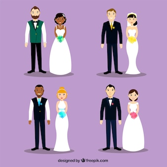 4 pięknych par ślubnych, fioletowe tło