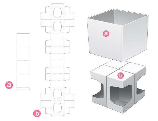 4 pudełko z wykrojonym szablonem