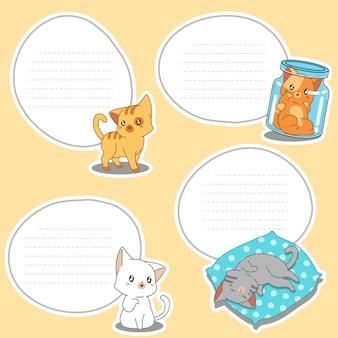 4 puste kartki z rysowanych małych kotów.