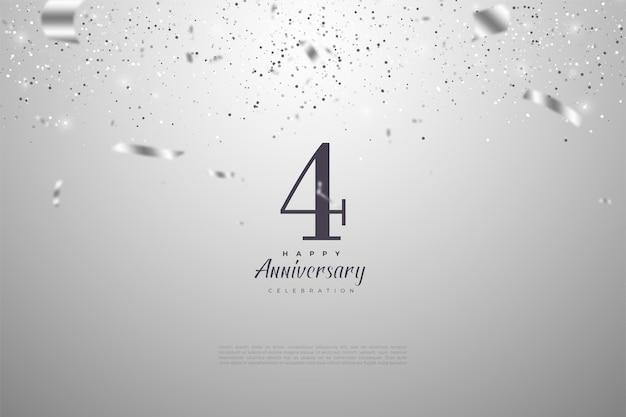 4. rocznica z numerami i ilustracjami srebrnych wstążek spadających na siebie.