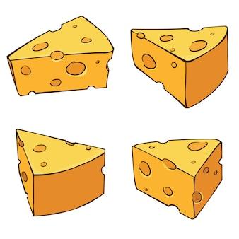 4 strony pysznego sera w stylu cartoon