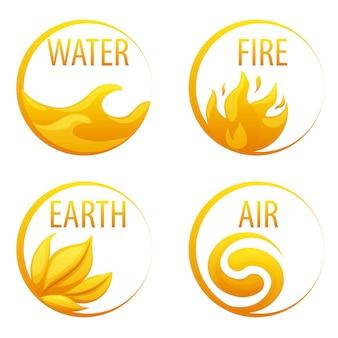 4 żywioły natura, złote ikony woda, ziemia, ogień, powietrze