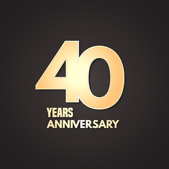 40 lat rocznica wektor ikona, logo. element projektu graficznego ze złotym numerem na na białym tle na 40. rocznicę