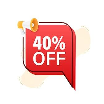 40 procent off wyprzedaż zniżka baner z megafonem zniżka z ceną oferty
