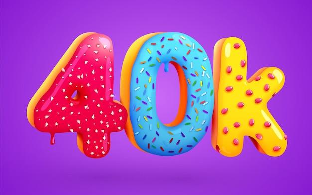 40 tys. obserwujących deser pączek znak znajomych w mediach społecznościowych obserwujący dziękuję subskrybentom