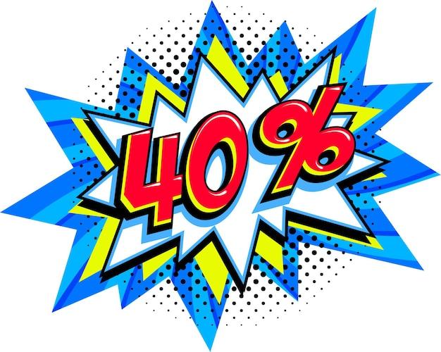 40 zniżki na sprzedaż. komiksowy niebieski balon z hukiem